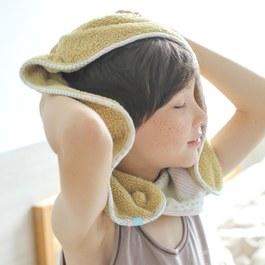 可以扣的球球巾(35x75cm)-芥黃