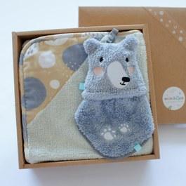 雙素材毛巾毯禮盒-黑熊二件組(毛毛帕+澎澎毯)