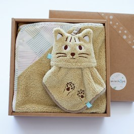 雙素材毛巾毯禮盒-石虎二件組(毛毛帕+澎澎毯)