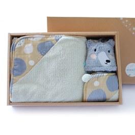 暖暖的黑熊禮盒-三件組(毛毛帕+球球巾+澎澎毯)