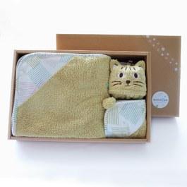 暖暖的石虎禮盒-三件組(毛毛帕+球球巾+澎澎毯)