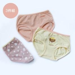 動物徜徉小白花世界-女童三角褲組