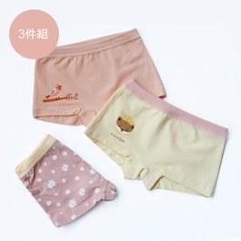 動物徜徉小白花世界-女童四角褲組