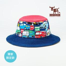 【小牛村 Calf Village】車車-雙面遮陽帽 (親子款)附繩