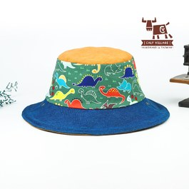 【小牛村 Calf Village】恐龍王國-雙面遮陽帽 (親子款)附繩