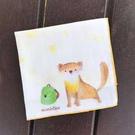 離家出走的黃喉貂-有機棉雙層紗手帕