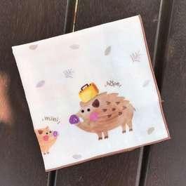 想旅行的野豬-有機棉雙層紗手帕