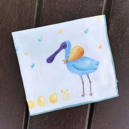 遷徙中的黑面琵鷺-有機棉雙層紗手帕
