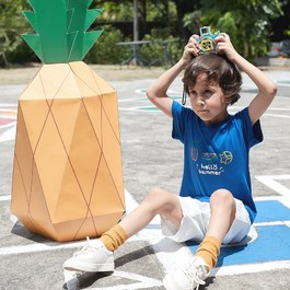 綜合水果拉克蘭袖上衣(寶藍)