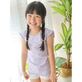 舒適彈性短袖上衣-粉紫